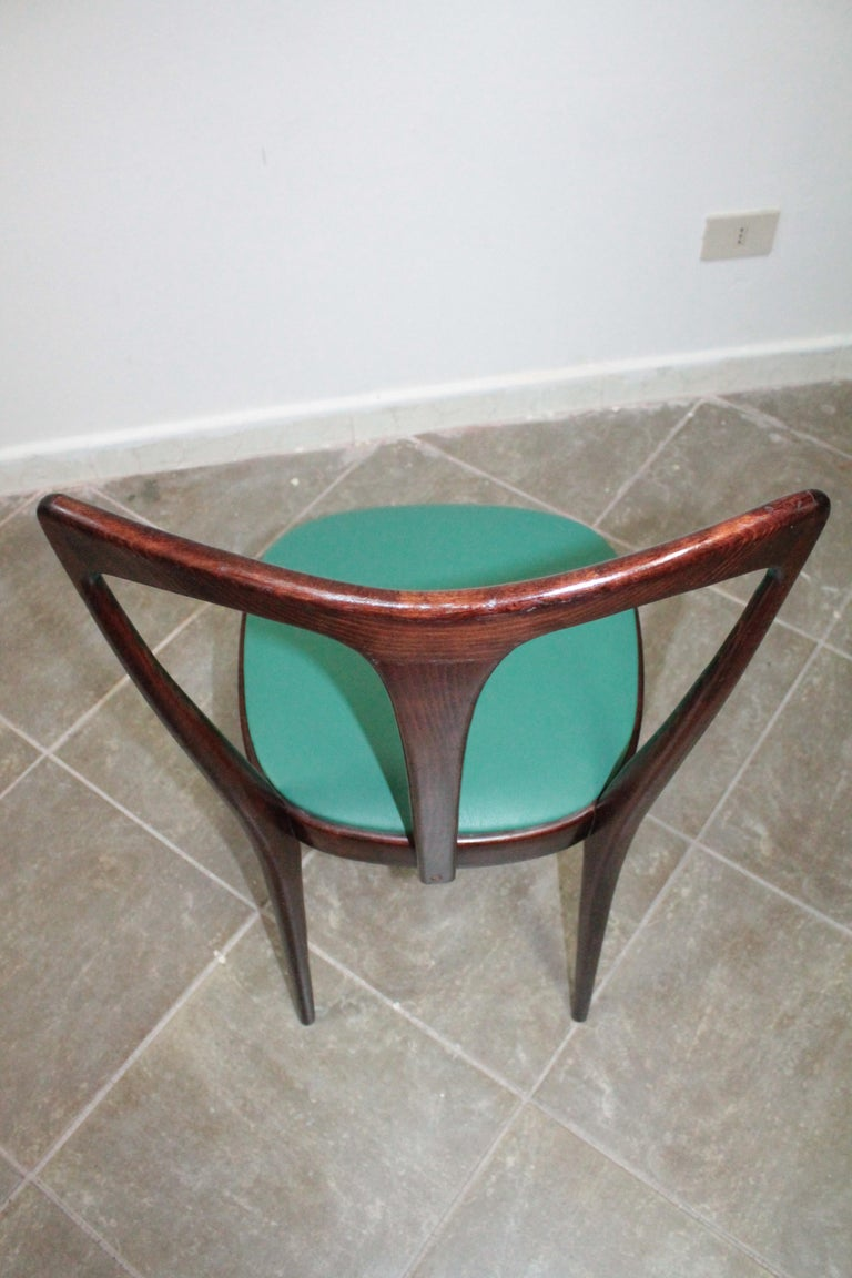 Set of 4 Italian Dining Chairs by Guglielmo Ulrich, 1950s For Sale 3