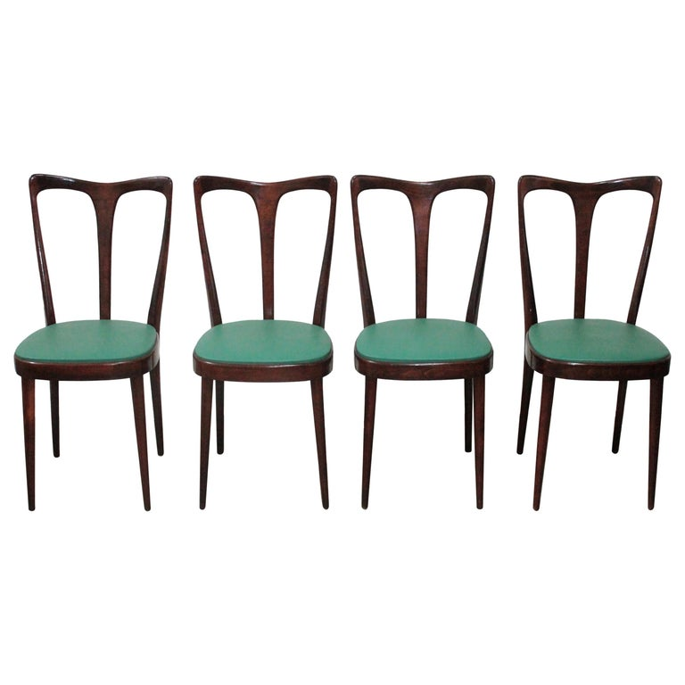 Set of 4 Italian Dining Chairs by Guglielmo Ulrich, 1950s For Sale