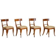 Set of 4 Italian Empire Walnut and Ebonized Chairs, 1st Quarter 19th Century