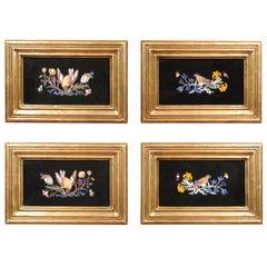 Set of 4 Italian Giltwood Framed Pietra Dura Specimen Marble Plaques