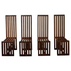 Set of 4 Italian High Back Pine Chairs by Lella & Massimo Vignelli, 1974