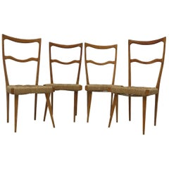 Set of 4 Italian Ladder Back Chairs in the Manner of Gio Ponti