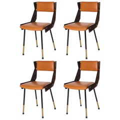 Set of 4 Italian Mahogany and Leather Chairs with Brass Fittings, circa 1950