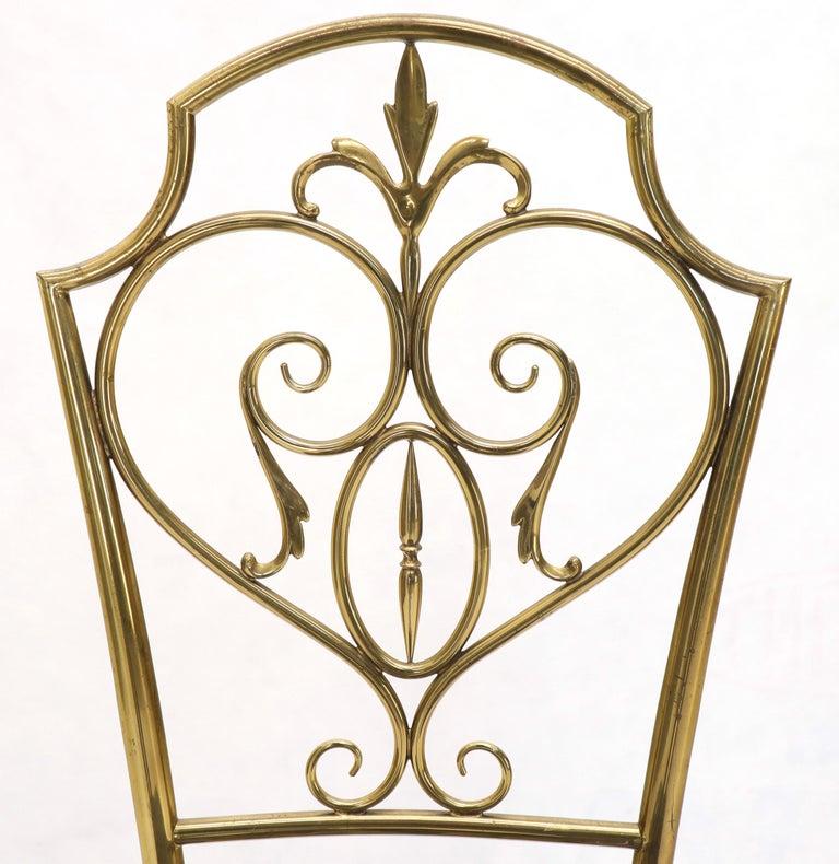 Set of 4 Italian Mid-Century Modern Chiavari Brass Chairs For Sale 6