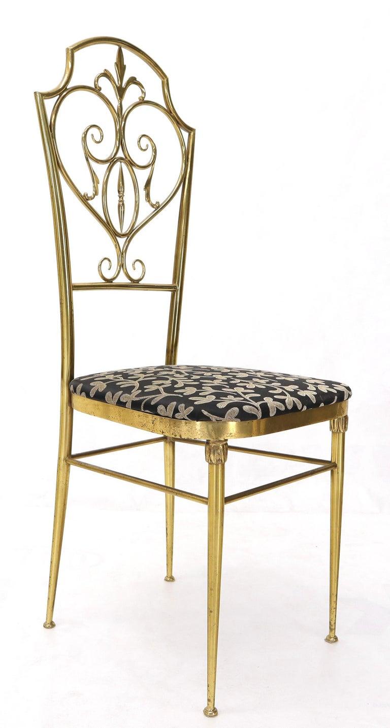 Set of 4 Italian Mid-Century Modern Chiavari Brass Chairs For Sale 8