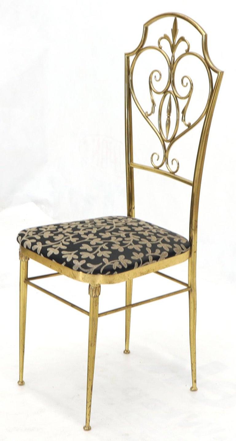 Set of 4 Italian Mid-Century Modern Chiavari Brass Chairs In Good Condition For Sale In Rockaway, NJ