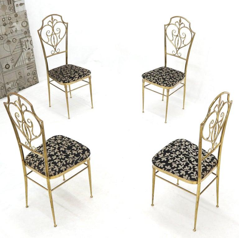 20th Century Set of 4 Italian Mid-Century Modern Chiavari Brass Chairs For Sale