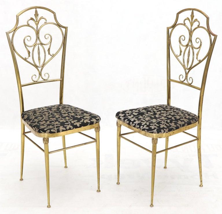 Set of 4 Italian Mid-Century Modern Chiavari Brass Chairs For Sale 1