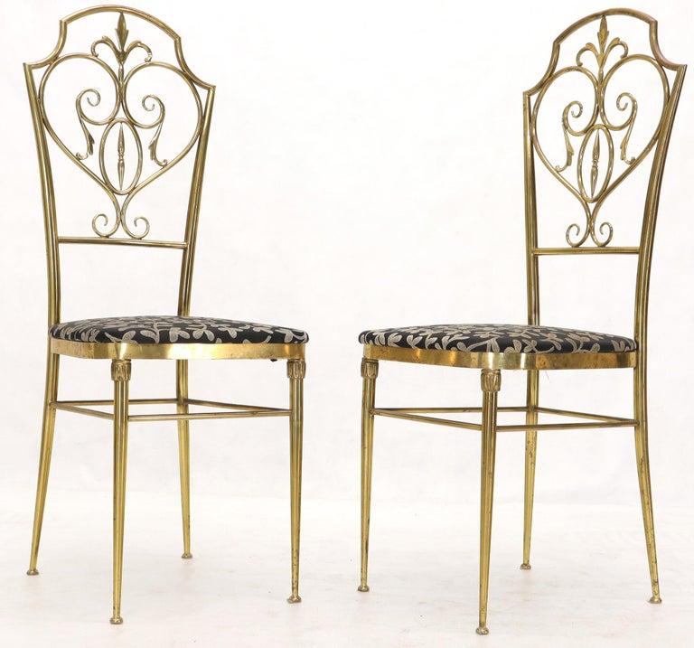 Set of 4 Italian Mid-Century Modern Chiavari Brass Chairs For Sale 3