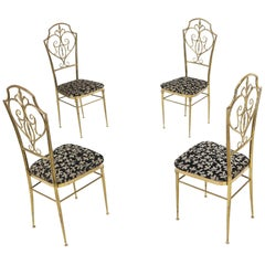 Set of 4 Italian Mid-Century Modern Chiavari Brass Chairs