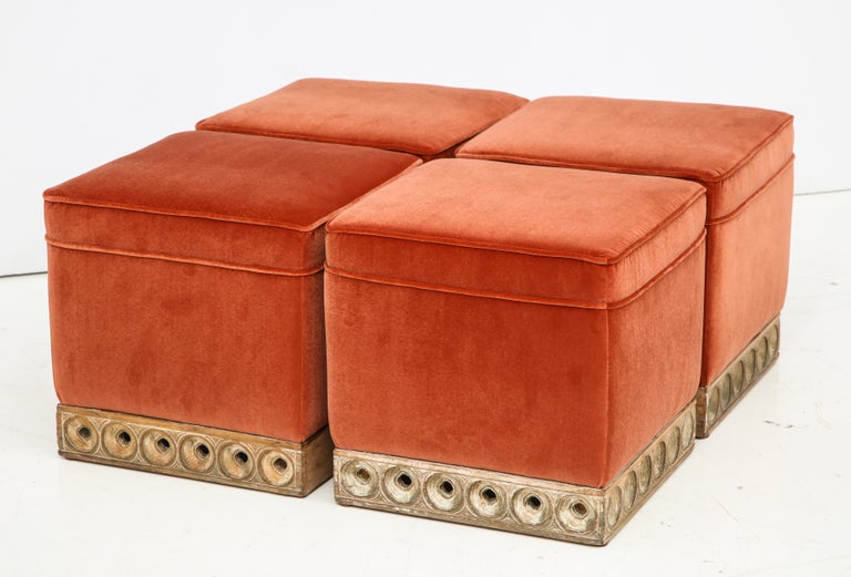 Mid-Century Modern Set of 4 Orange Velvet Poufs or Stools with Wooden Carved Bases, Italy, 1970s