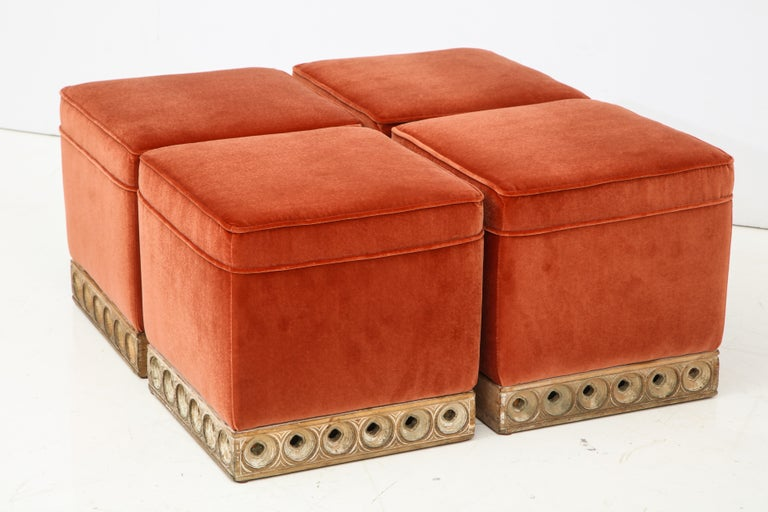 Italian Set of 4 Orange Velvet Poufs or Stools with Wooden Carved Bases, Italy, 1970s
