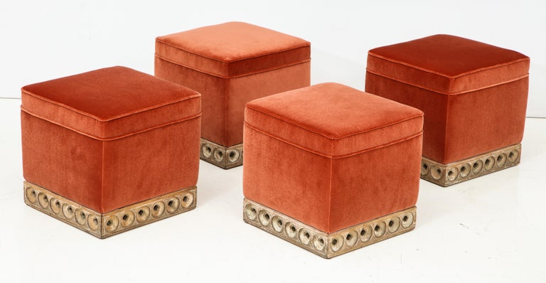 Set of 4 Orange Velvet Poufs or Stools with Wooden Carved Bases, Italy, 1970s In Good Condition In New York, NY