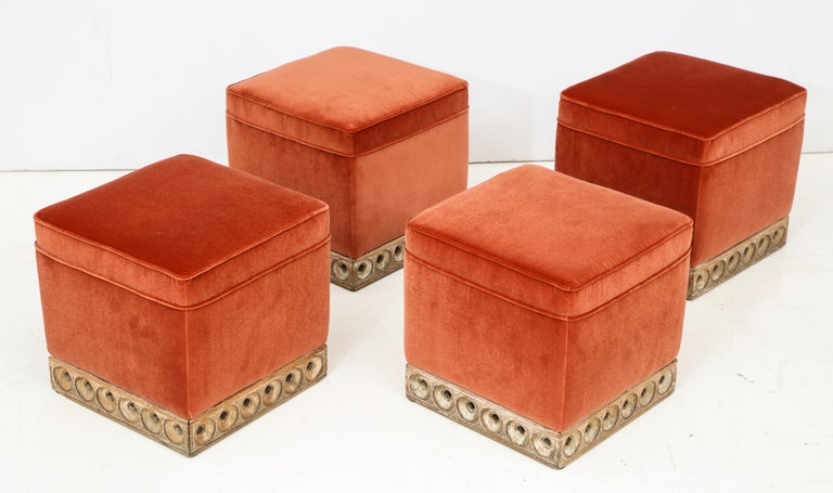 Late 20th Century Set of 4 Orange Velvet Poufs or Stools with Wooden Carved Bases, Italy, 1970s