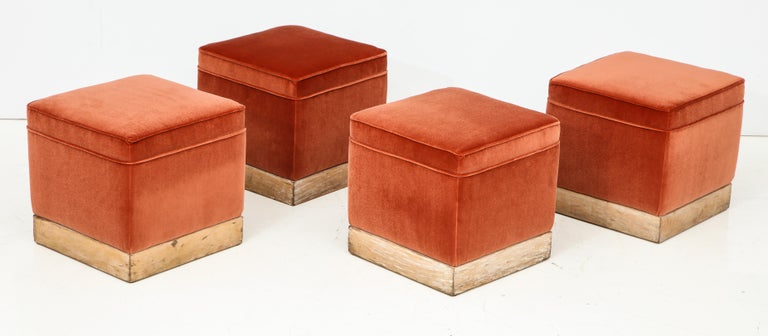 Set of 4 Orange Velvet Poufs or Stools with Wooden Carved Bases, Italy, 1970s 1