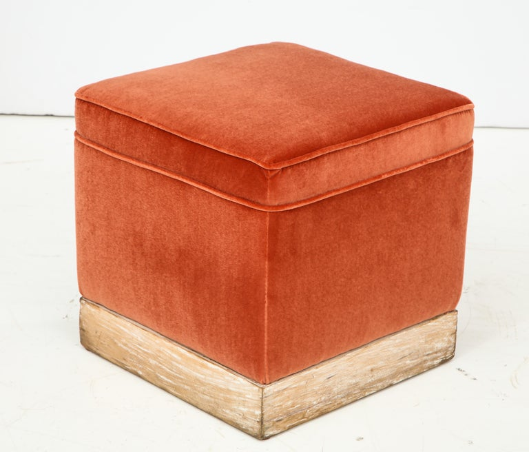 Set of 4 Orange Velvet Poufs or Stools with Wooden Carved Bases, Italy, 1970s 2