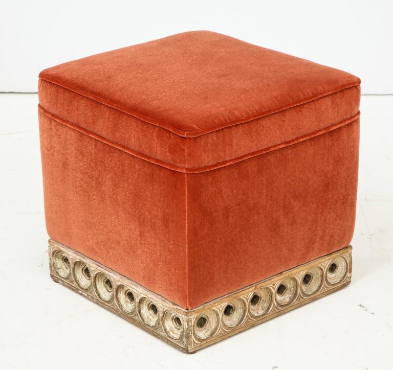 Set of 4 Orange Velvet Poufs or Stools with Wooden Carved Bases, Italy, 1970s 3