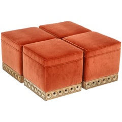 Set of 4 Orange Velvet Poufs or Stools with Wooden Carved Bases, Italy, 1970s