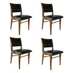 Set of 4 Italian Modern Walnut Dining/Side Chairs, Attributed to Campo & Graffi