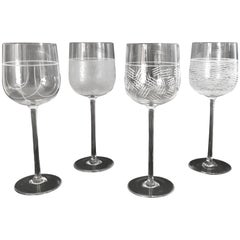 Set of 4 Italian Murano Wine Glasses by Salviati