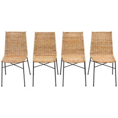 Set of 4 Italian Wicker Dining Chairs