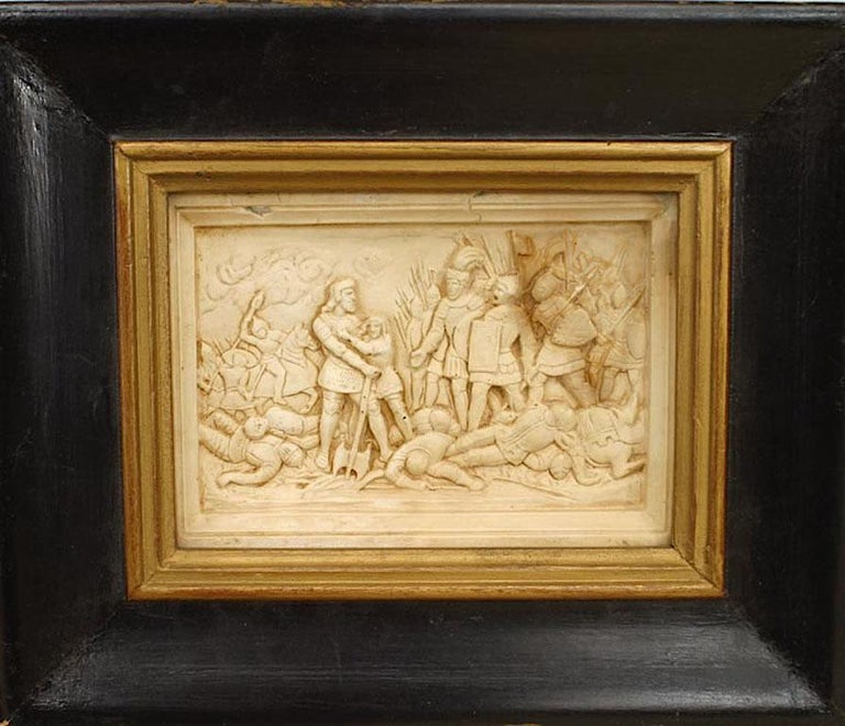 19th Century Set of 4 Italian Renaissance Style Carved Soapstone Wall Plaques For Sale