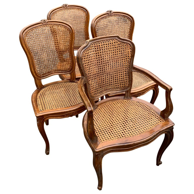 Set of 4 Italian Rococo Style Dining Room Chairs In Good Condition For Sale In Haddonfield, NJ