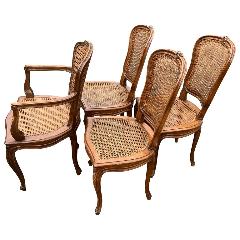 20th Century Set of 4 Italian Rococo Style Dining Room Chairs For Sale