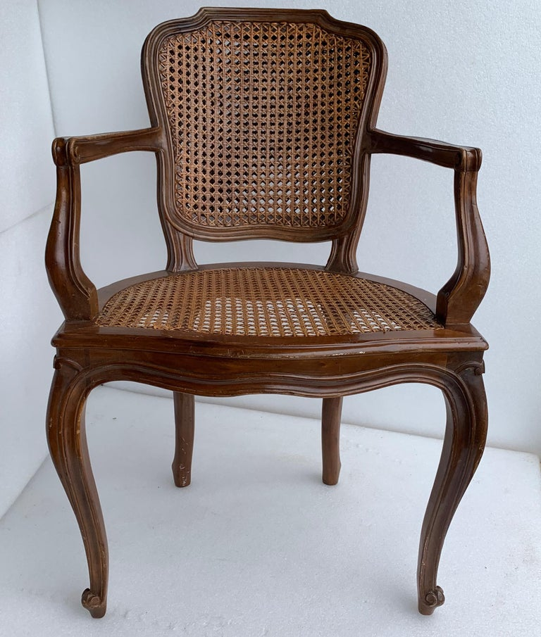 Cane Set of 4 Italian Rococo Style Dining Room Chairs For Sale