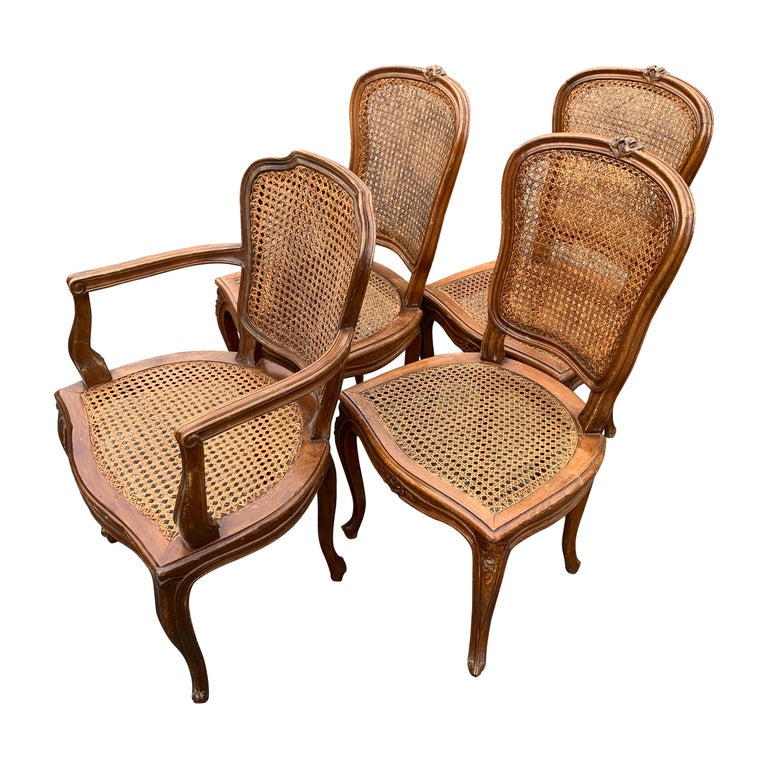 Set of 4 Italian Rococo Style Dining Room Chairs For Sale