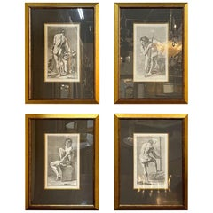 Set of 4 Italian Vintage Black and White Copper Engravings