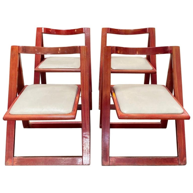 """Set of 4 Jacober & d'Aniello """"Trieste"""" Folding Chairs for Bazzani, 1966, Italy For Sale"""