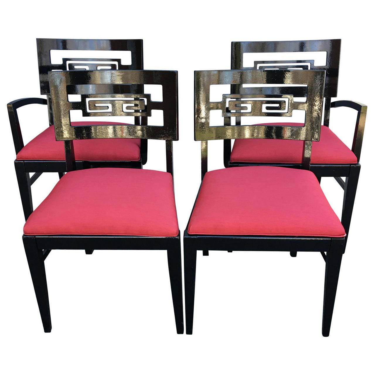 Set Of 4 Black Painted James Mont Style Dining Room Chairs