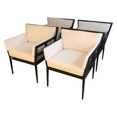 Set of 4 Janus Et Cie Stylish Aluminum & Upholstered Indoor Outdoor Club Chairs
