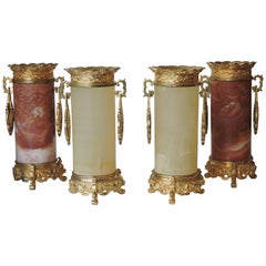Set of 4 Japonisme Marble, Onyx and Ormolu Vases in the Style of Edouard Lièvre