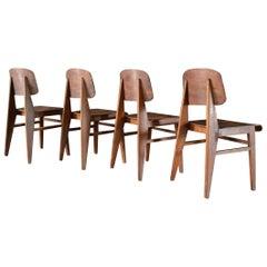 Set of 4 Jean Prouvé Chairs, Vauconsant