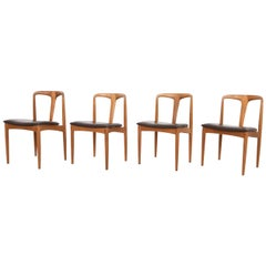 Set of 4 Johannes Andersen Juliane Dining Chairs in Oak and Leather, Denmark