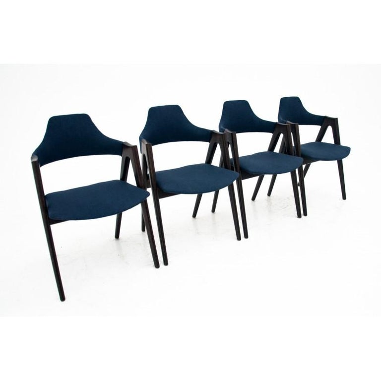 Rosewood Set of 4 Kai Kristiansen Compass Chairs, Danish Design, after Renovation For Sale
