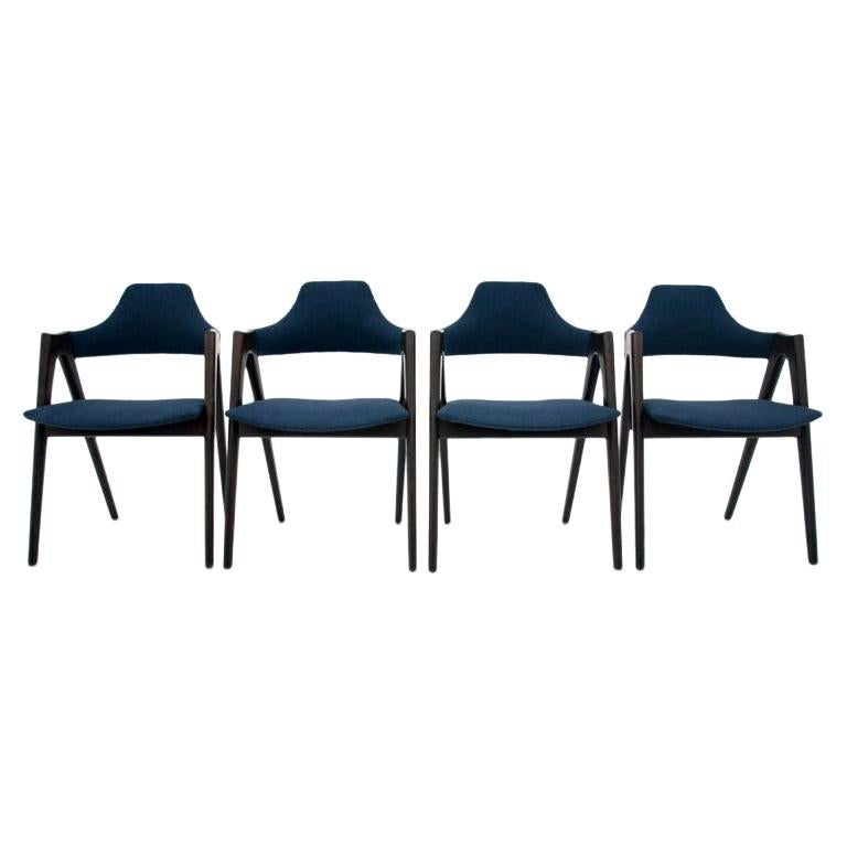 Set of 4 Kai Kristiansen Compass Chairs, Danish Design, after Renovation For Sale
