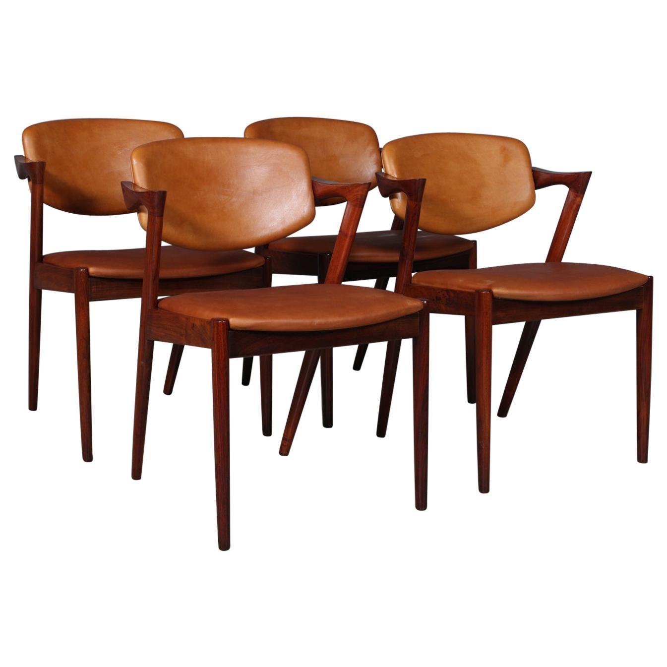 Set of 4 Kai Kristiansen Model 42 Dining Chairs, Rosewood