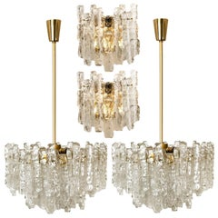 Set of 4 Kalmar Ice Glass Light Fixtures, 2 Wall Scones and 2 Chandeliers