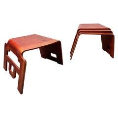 """Set of 4 """"Kin -Der-Link"""" Stools, by Bashir Zivari for Skools Inc. Plywood Modern"""