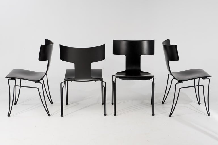 Italian Set of 4 Klismos Style Anziano Dining Chairs by John Hutton for Donghia