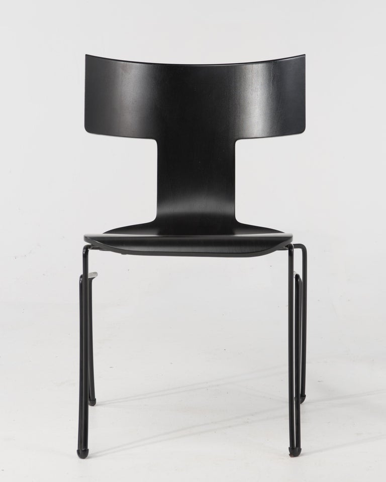 Steel Set of 4 Klismos Style Anziano Dining Chairs by John Hutton for Donghia