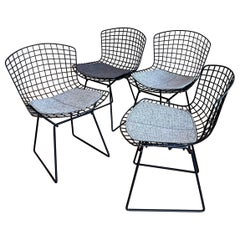 Set of 4 Knoll Black Harry Bertoia Chairs for Knoll