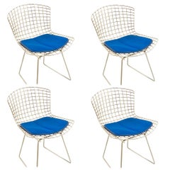 Set of 4 Knoll Chrome Harry Bertoia Chairs for Knoll