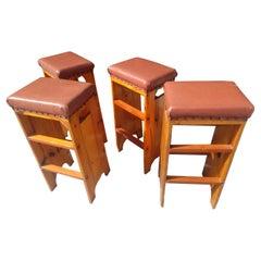 Set of 4 Knotty Pine Adirondack Style Bar, Counter Stools