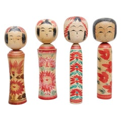 "Set of 4 ""Kokeshi"" Dolls"