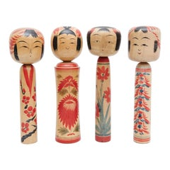 "Set of 4 ""Kokeshi"" Dolls"