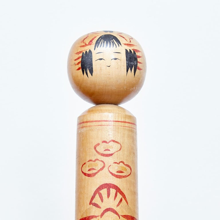 Set of 4 Kokeshi Japanese Wood Hand Painted Doll For Sale 5